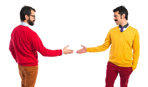Twin brothers making a deal