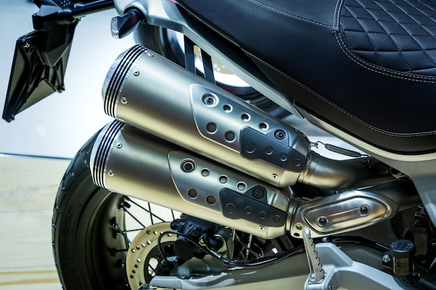 Twin exhaust pipes.