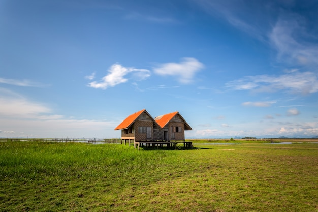 Twin old house on wetland at talay noi lake