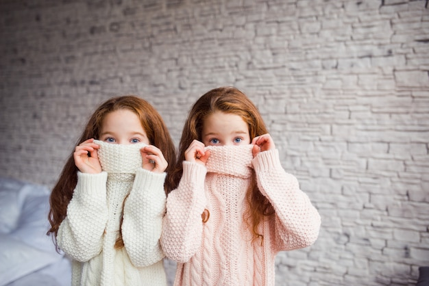 Twin sister girls hiding face in knitted sweater