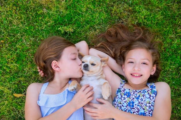 Сестры-близнецы играют с собакой чихуахуа, лежа на газоне