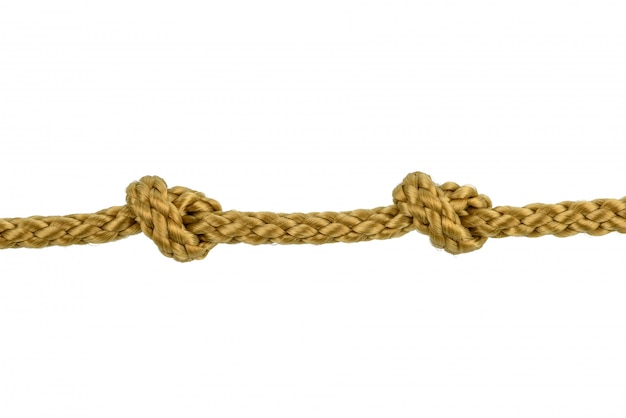 Шпагат веревка или джутовая веревка с узлом, изолированные на белом