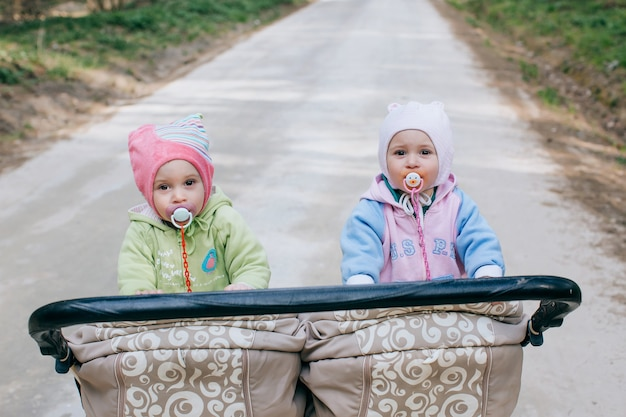 Twins baby in double stroller outdoors