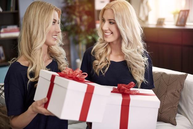 大きなプレゼントを交換する双子