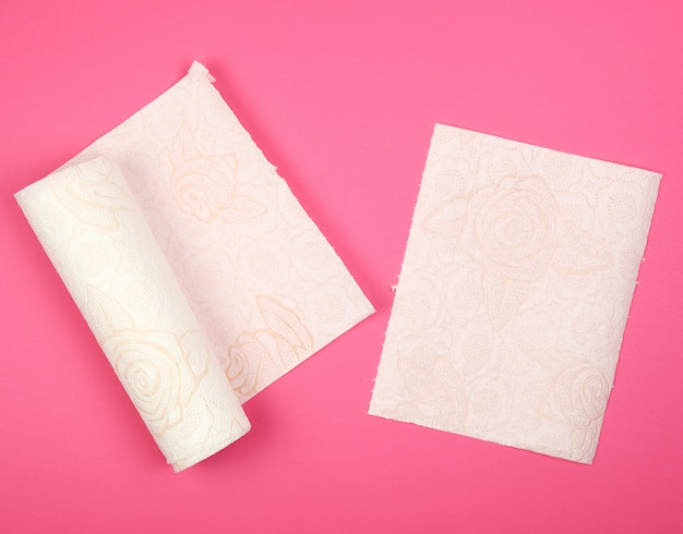 Twisted roll of white soft paper napkins for face and hands