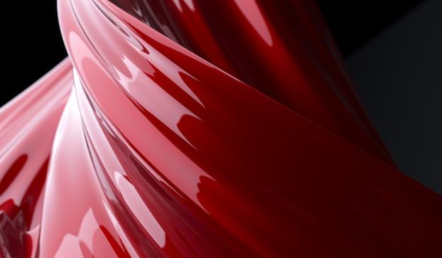 赤いペンキの背景のツイスト形状
