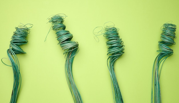 Twisted wooden green decor for bouquets, top view