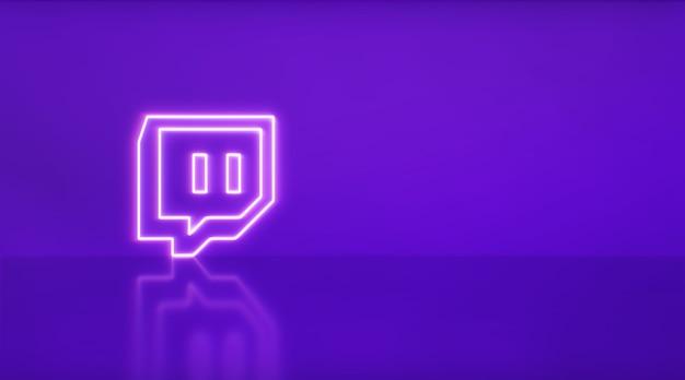 텍스트와 그래픽을 위한 공간이 있는 네온의 twitch 로고. 보라색 배경입니다.