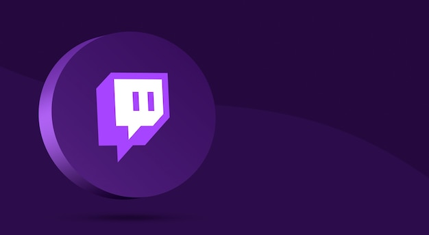 Минималистичный дизайн логотипа twitch на круге 3d