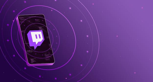 Логотип twitch на телефоне с технологическим дисплеем, умный 3d рендеринг