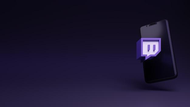 응용 프로그램 및 스마트폰의 휴대폰 3d 렌더링이 있는 twitch 로고