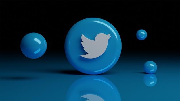 전면에 twitter 3d 아이콘