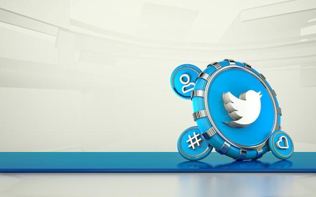 트위터 3d 렌더링 소셜 미디어 아이콘 격리 된 배경