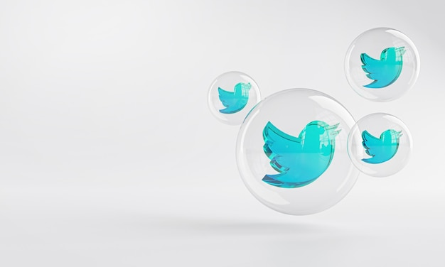 Twitter acrylic icon inside bubble glass copy space 3d