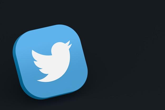 Twitter application logo 3d rendering on black background