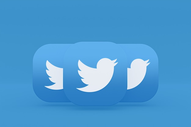 Twitter application logo 3d rendering on blue background
