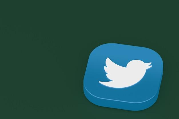 Twitter application logo 3d rendering on green background
