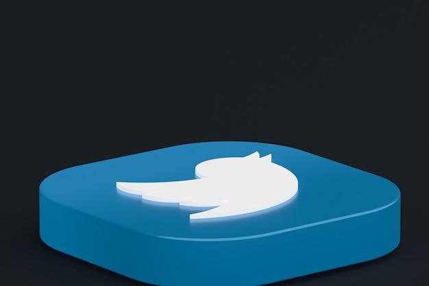 Логотип приложения twitter 3d-рендеринга на черном фоне
