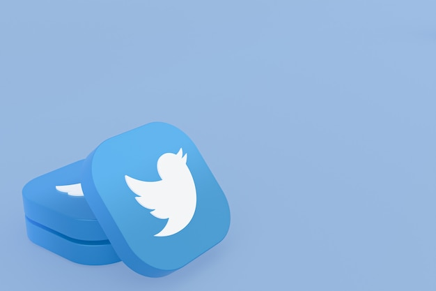 파란색 배경에 트위터 응용 프로그램 로고 3d 렌더링