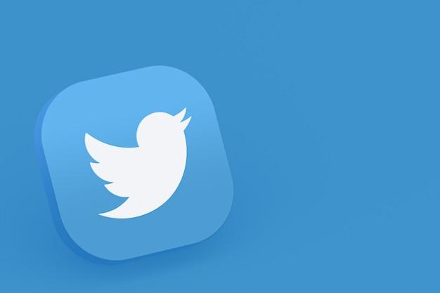 Логотип приложения twitter 3d-рендеринга на синем фоне