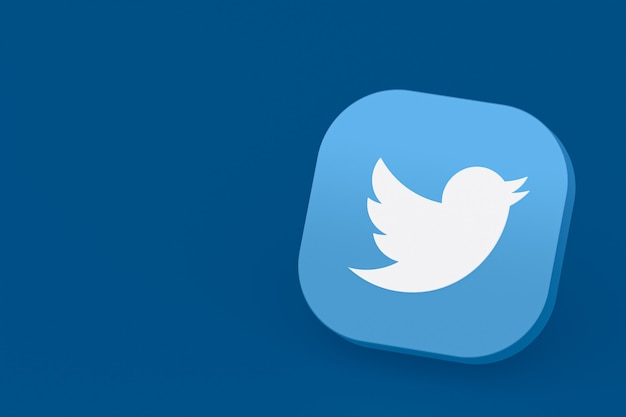 Логотип приложения twitter 3d-рендеринг на синем фоне