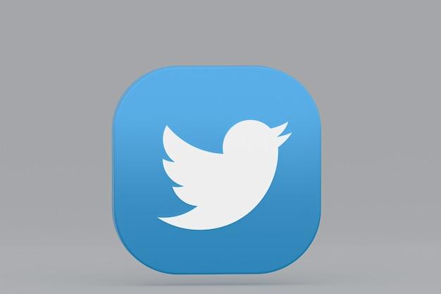 Логотип приложения twitter 3d-рендеринга на сером фоне