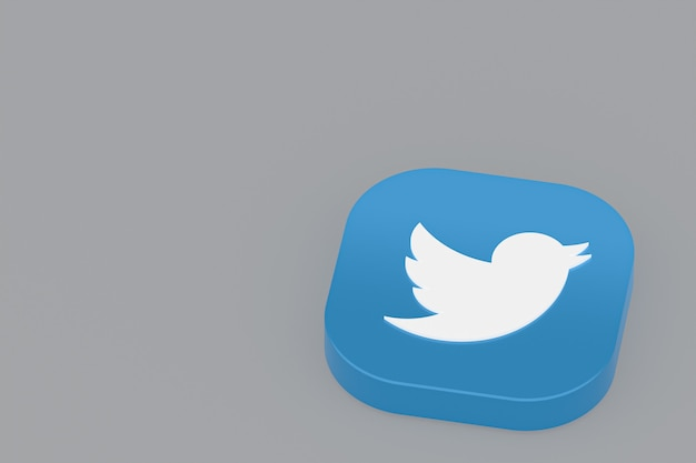 회색 배경에 트위터 응용 프로그램 로고 3d 렌더링