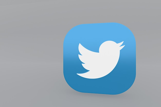 3d-рендеринг логотипа приложения twitter на сером фоне