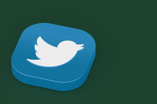 Логотип приложения twitter 3d-рендеринга на зеленом фоне