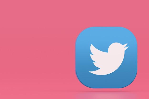 분홍색 배경에 트위터 응용 프로그램 로고 3d 렌더링