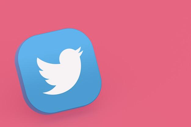 Логотип приложения twitter 3d-рендеринг на розовом фоне