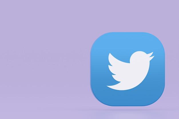 Логотип приложения twitter 3d-рендеринга на фиолетовом фоне