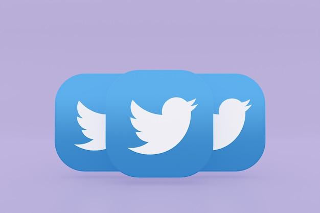 보라색 배경에 트위터 응용 프로그램 로고 3d 렌더링
