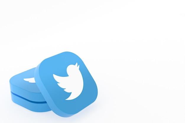 흰색 배경에 트위터 응용 프로그램 로고 3d 렌더링