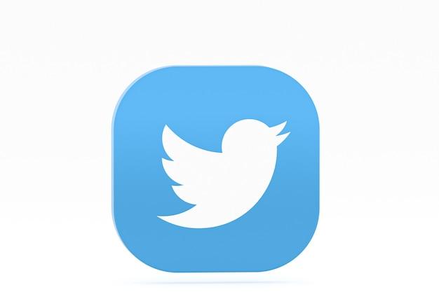 Логотип приложения twitter 3d-рендеринга на белом фоне