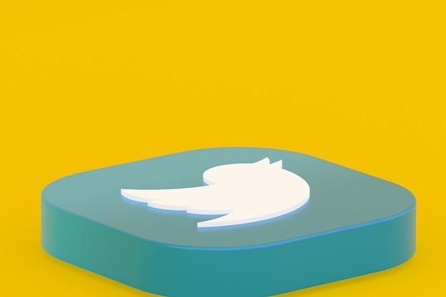 Логотип приложения twitter 3d-рендеринга на желтом фоне
