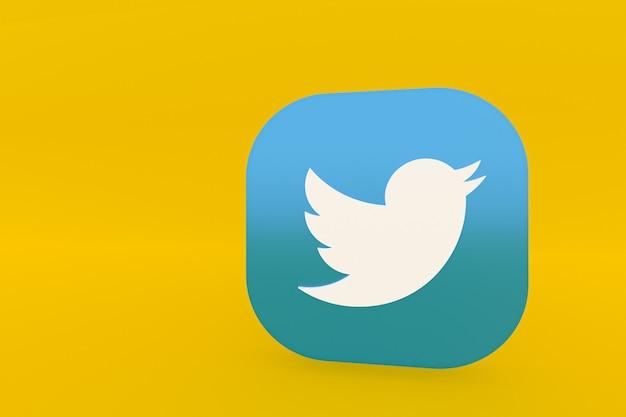 노란색 배경에 트위터 응용 프로그램 로고 3d 렌더링