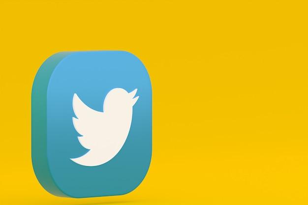 Логотип приложения twitter 3d-рендеринг на желтом фоне