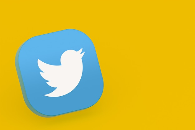 Twitter application logo 3d rendering on yellow background