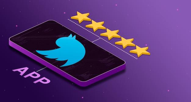 별 5 개 등급 3d로 전화에 트위터 응용 프로그램 로고