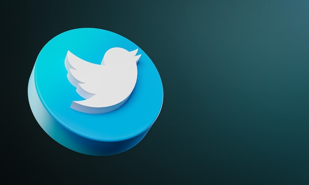 Twitter circle button icon 3d with copy space