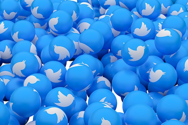 Twitter emoji 3d render background, social media balloon symbol