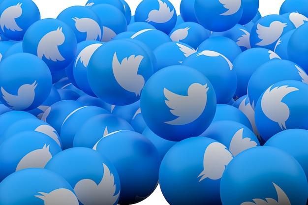 Twitter emoji 3d визуализации фона, символ социальных медиа шар