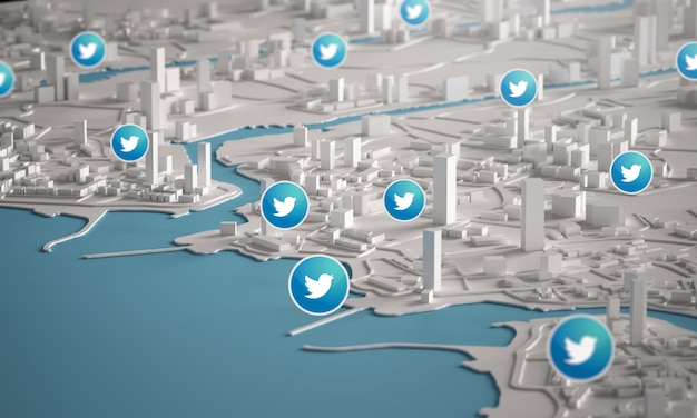 Twitter icon over aerial view of city buildings 3d rendering