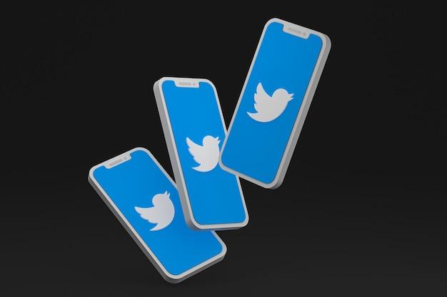 画面のスマートフォンまたはモバイルの 3 d レンダリング上の twitter アイコン