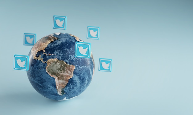 Twitter logo icon around earth. popular app concept.