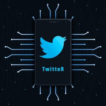 기술 배경 3d에 전화 화면에 트위터 로고 아이콘