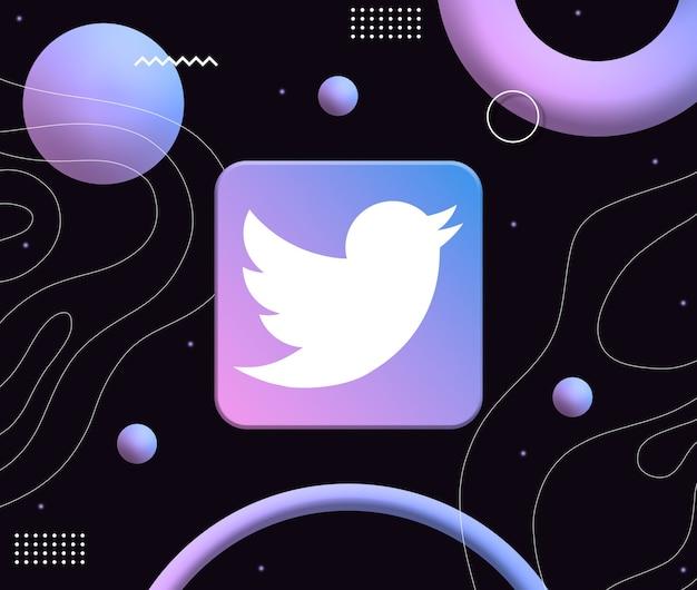 미적 네온 모양의 배경에 트위터 로고 아이콘 3d