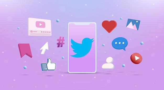 Значок логотипа twitter на телефоне с иконками социальных сетей вокруг 3d