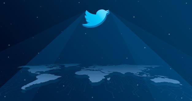 세계지도 3d의 모든 대륙에 트위터 로고 아이콘